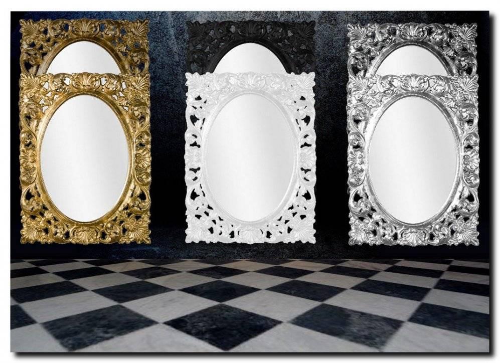 Ovale spiegel in rechthoekige bewerkte lijst Celia