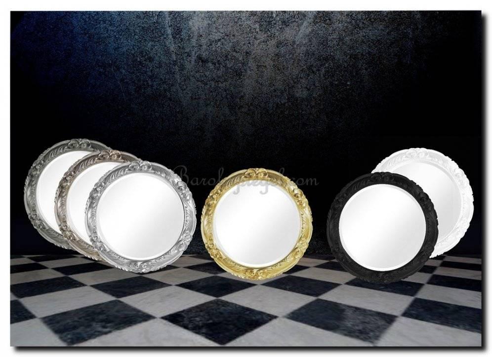 Ronde spiegel in brede ornament lijst Christiana