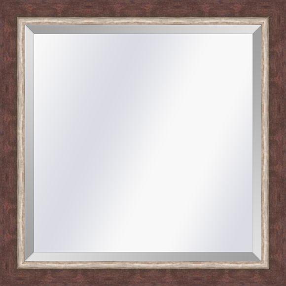 Moderne spiegel Lucerne Roodbruin-zilver small 29mm