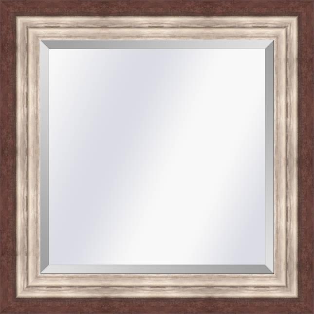 Moderne spiegel Lucerne Roodbruin-zilver medium 52mm