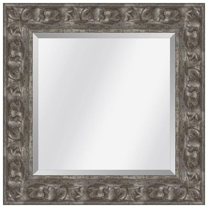 Brocante spiegel met ornament Sevilla Antiekzilver medium 65mm