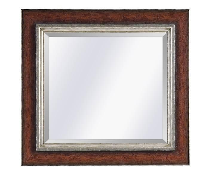 Moderne spiegel Lucerne Roodbruin-zilver large 93mm