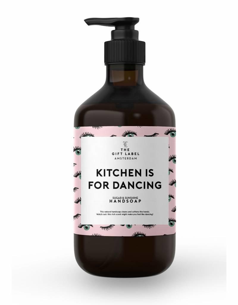 The gift label Handzeep pompje: kitchen is for dancing