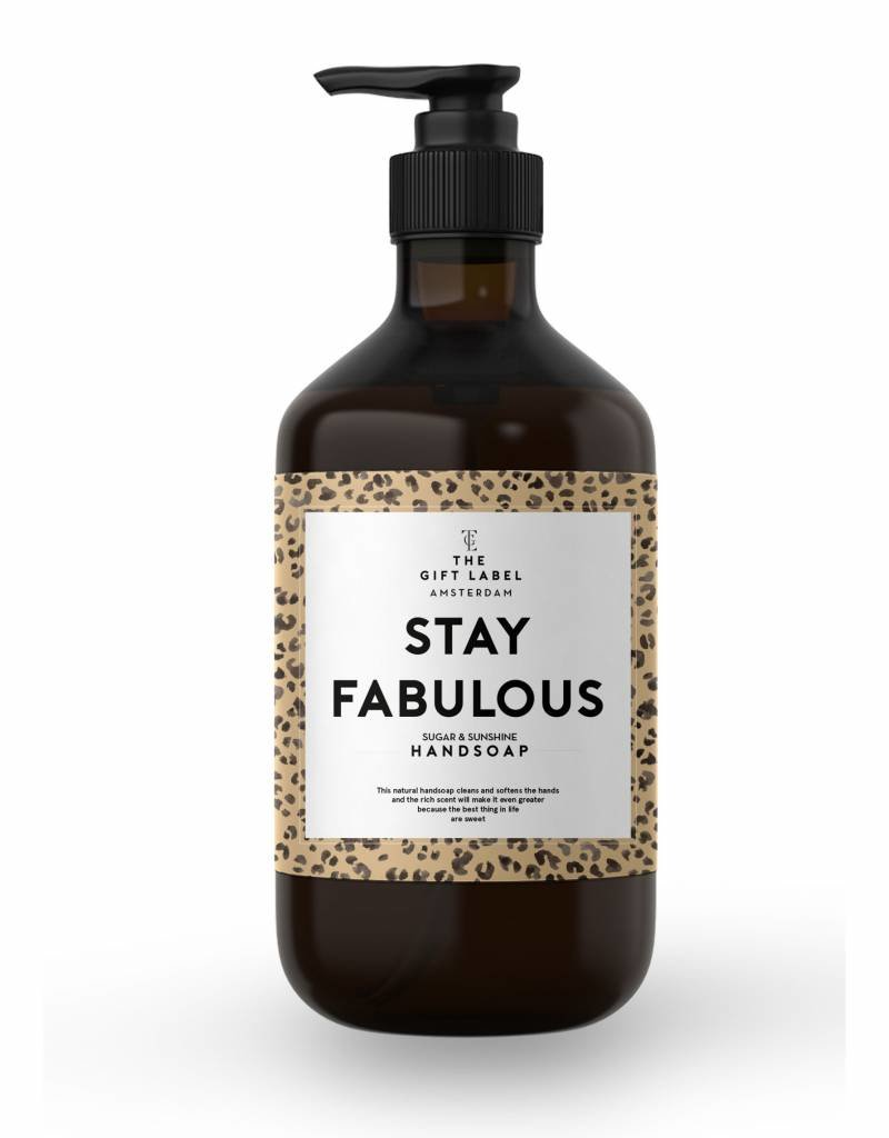 The gift label Handzeep pompje: stay fabulous