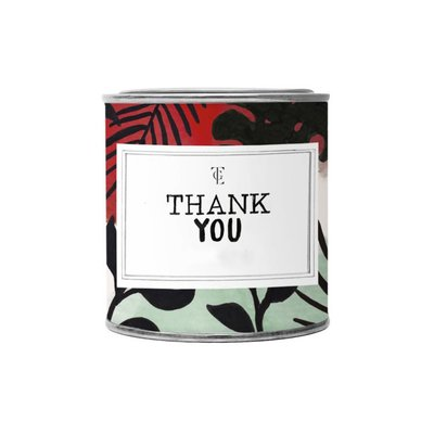 The gift label Candle Tin Small:  Thank you - Fresh cotton