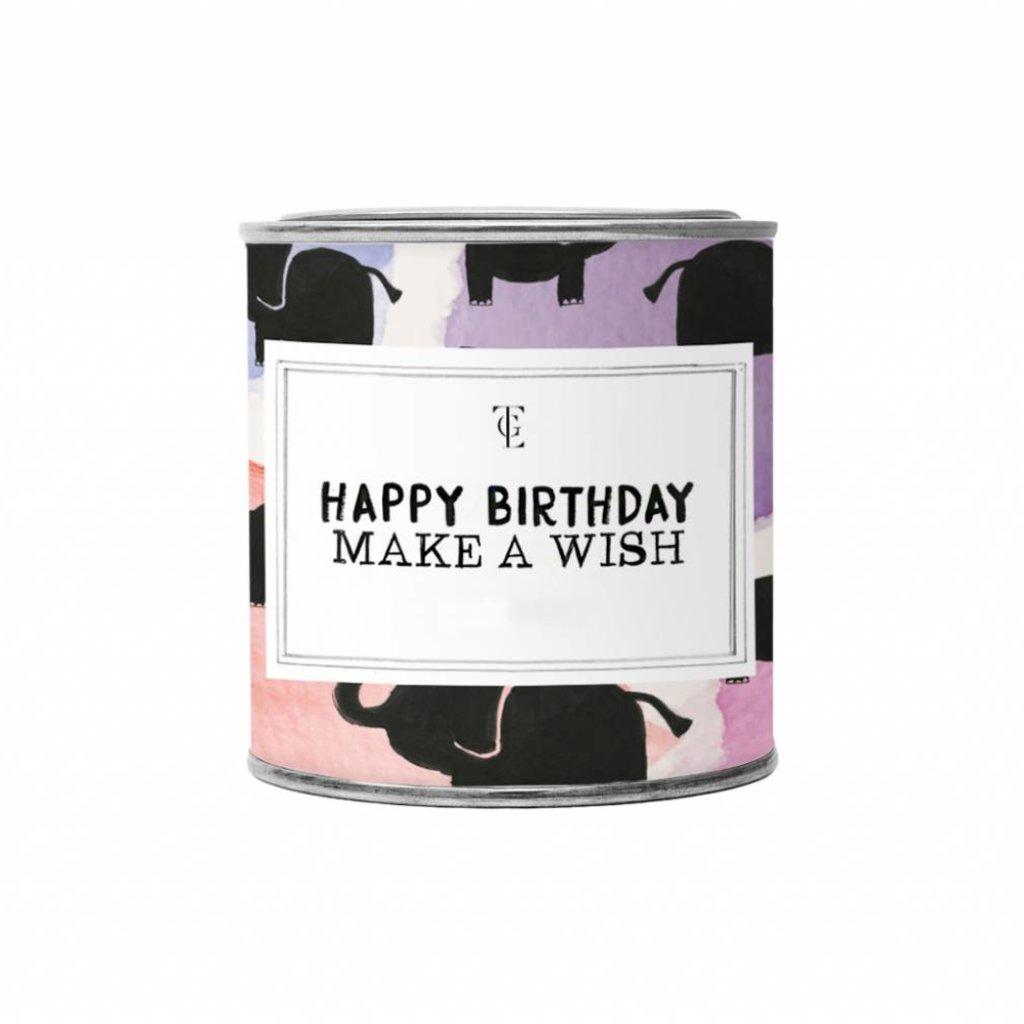 The gift label Candle Tin Small:  Happy Birthday - Jasmine vanilla