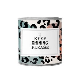 The gift label Candle Tin Small:  keep shining please - Fresh cotton