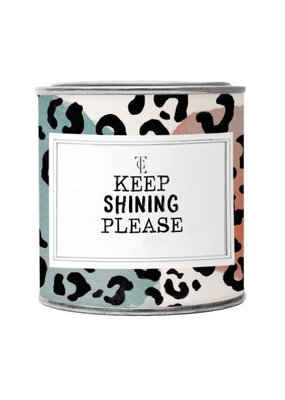 The gift label Candle Tin Large:  keep shining please - Fresh cotton