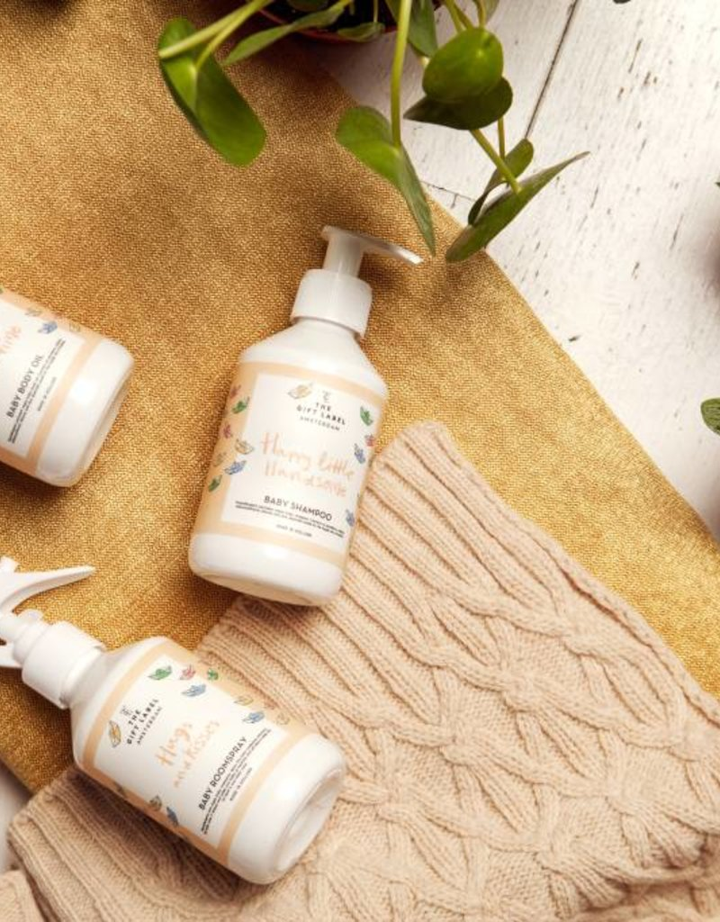 The gift label Baby body oil: Hi baby spa