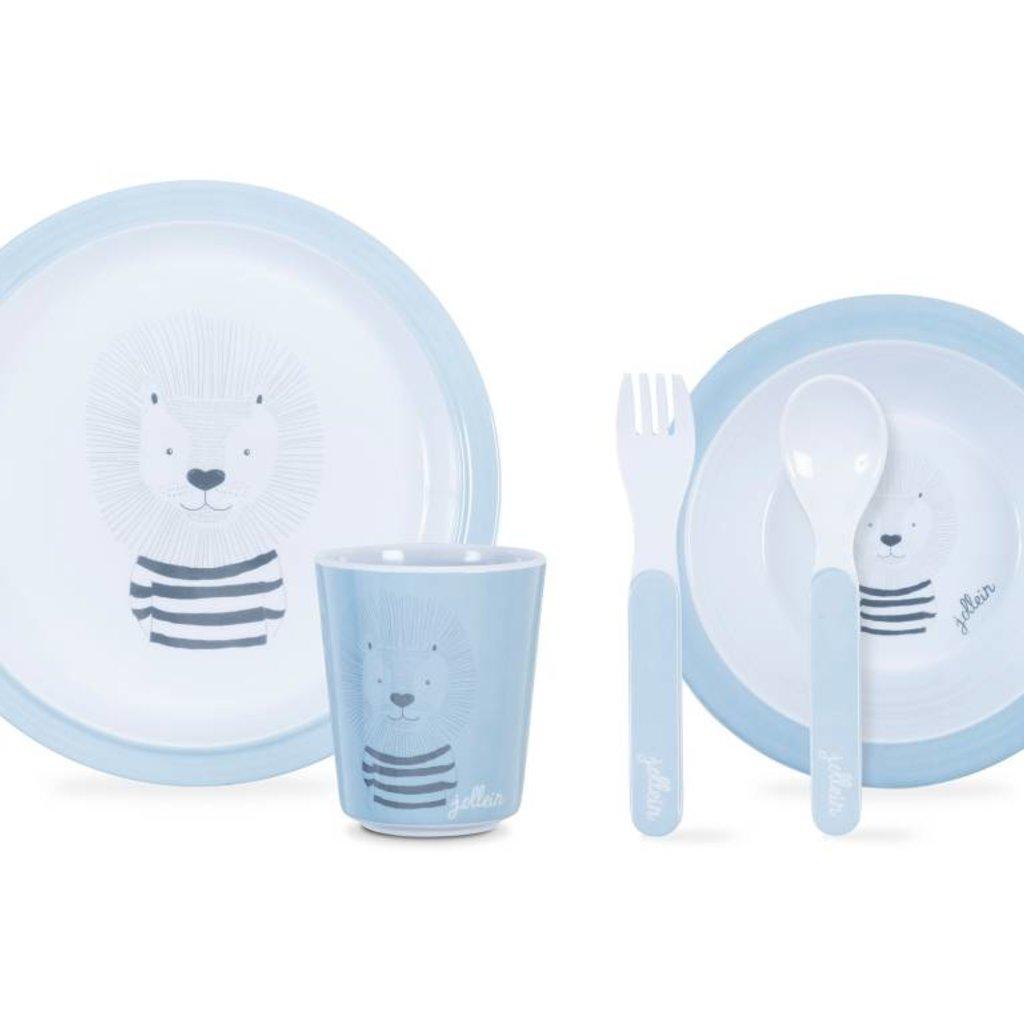 Jollein Dinerset Wild animals soft blue