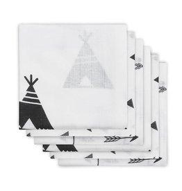 Jollein Hydrofiel luier Indians black & white (6pack)