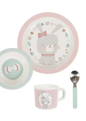 Little Dutch Melamine eetset (servies) 5 delig - adventure roze