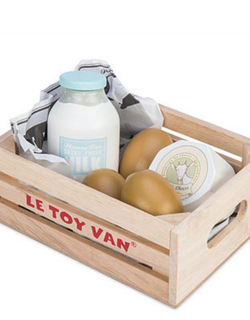 Le toy van Markt hout melk en eieren