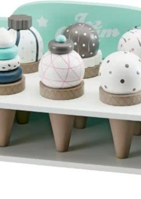 Kids Concept Houten rekje voor ijsjes + 6 ijsjes