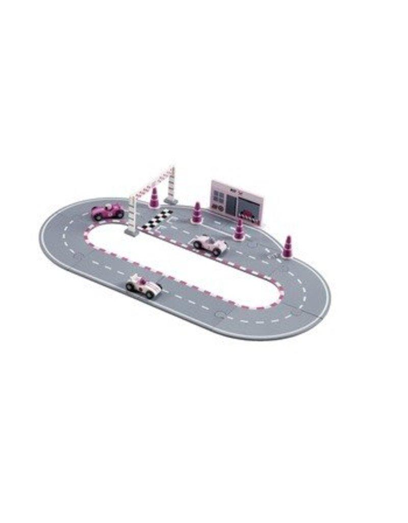 Kids Concept Roze Racebaan + voertuigen