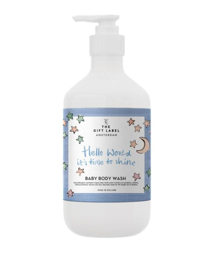 The gift label Baby Body Wash: Hello world