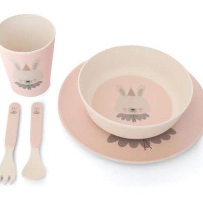 Eef lillemor Eef Lillemor; Bamboo Eco Dinner set - circus bunny pink