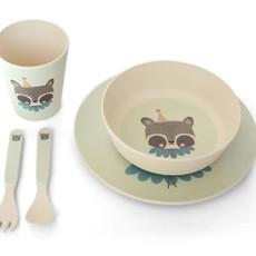 Eef lillemor Eef Lillemor; Bamboo Eco Dinner set - circus racoon