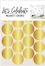 Let's Celebrate muurstickers geometrisch bolletje goud