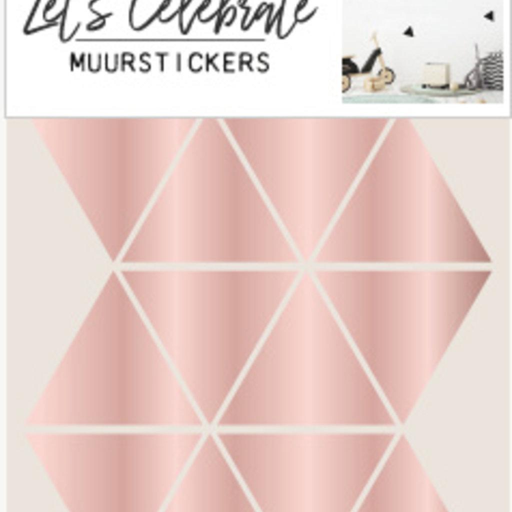 Let's Celebrate muurstickers geometrisch driehoek rosé