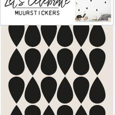 Let's Celebrate muurstickers geometrisch druppel zwart
