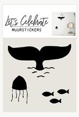 Let's Celebrate Muurstickers - Walvis