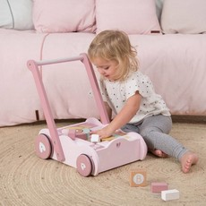 Little Dutch Blokkenkar hout - adventure roze
