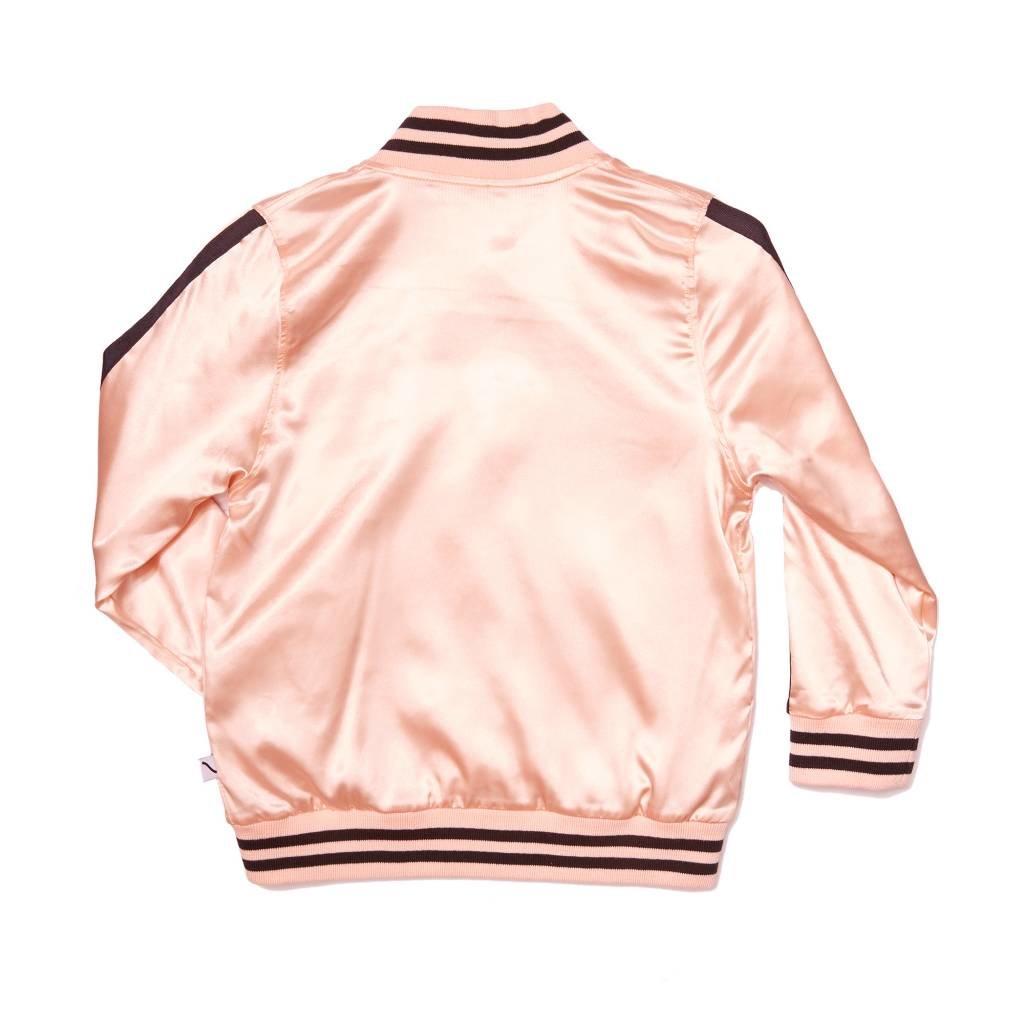 CarlijnQ kiss goodbye - bomber pink satin / embroidery lips