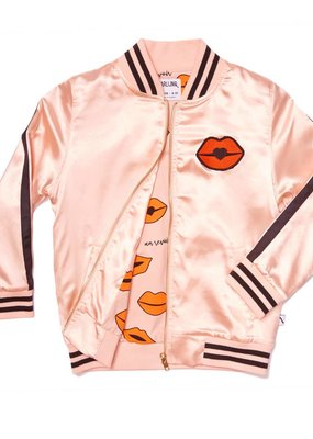 CarlijnQ kiss goodbye - bomber pink satin / embroidery lips