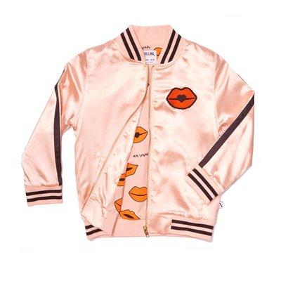 CarlijnQ Carlijn Q;   kiss goodbye - bomber pink satin / embroidery lips