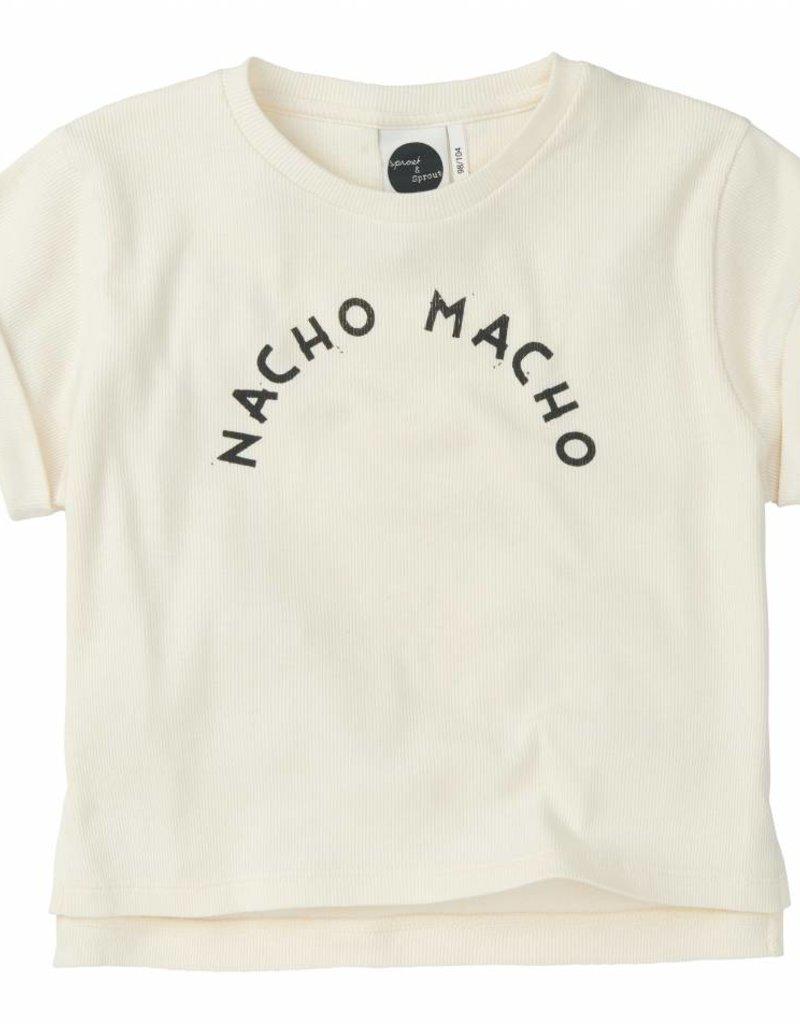 Sproet & Sprout Boxy T-shirt 'Nacho Macho' White S19 95% Cotton & 5% Elastane