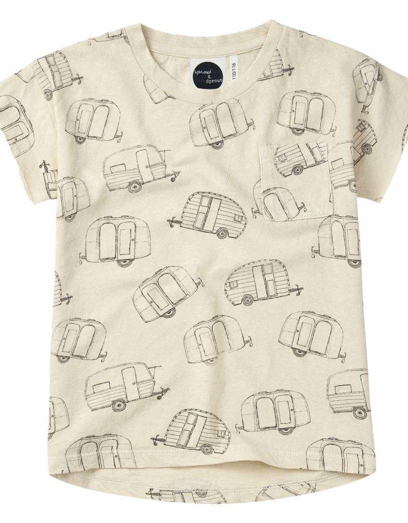 Sproet & Sprout T-shirt 'Caravan AOP' S19 80% Cotton % 20% Linen