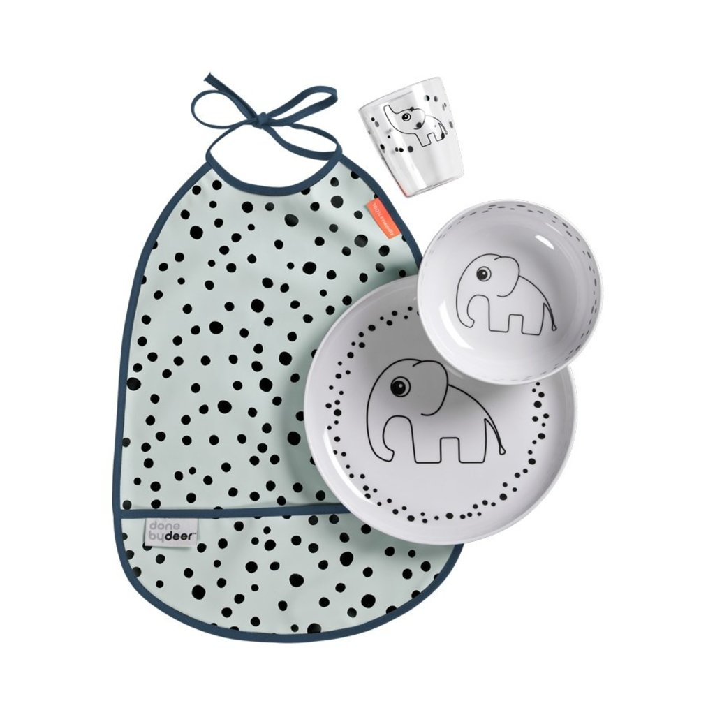 Done by Deer Dinner set, Happy dots, blue