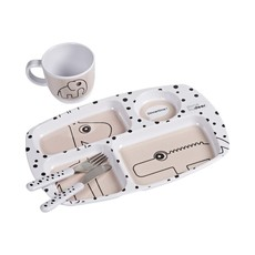 Done by Deer Toddler dinner set, Happy dots, powder