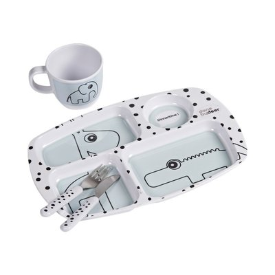Done by Deer Toddler dinner set, Happy dots, blue