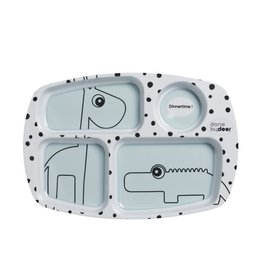 Done by Deer Compartment plate, Happy dots, blue