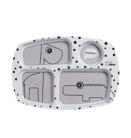 Done by Deer Compartment plate, Happy dots, grey