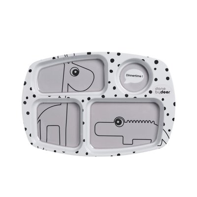 Done by Deer Done by Deer;  Compartment plate, Happy dots, grey