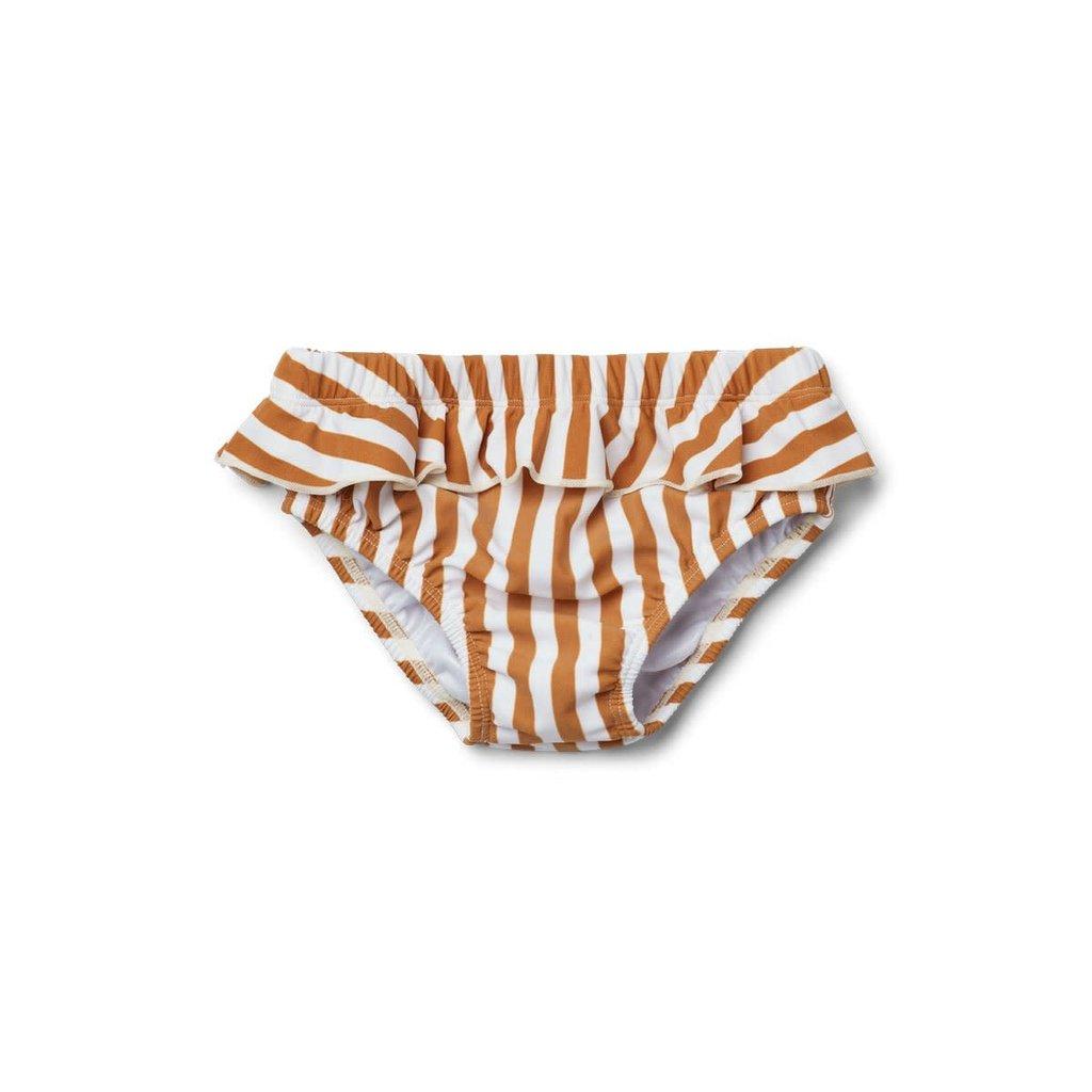 Liewood Liewood; Elise – Baby girl swim pants, stripe mustard/creme de la creme