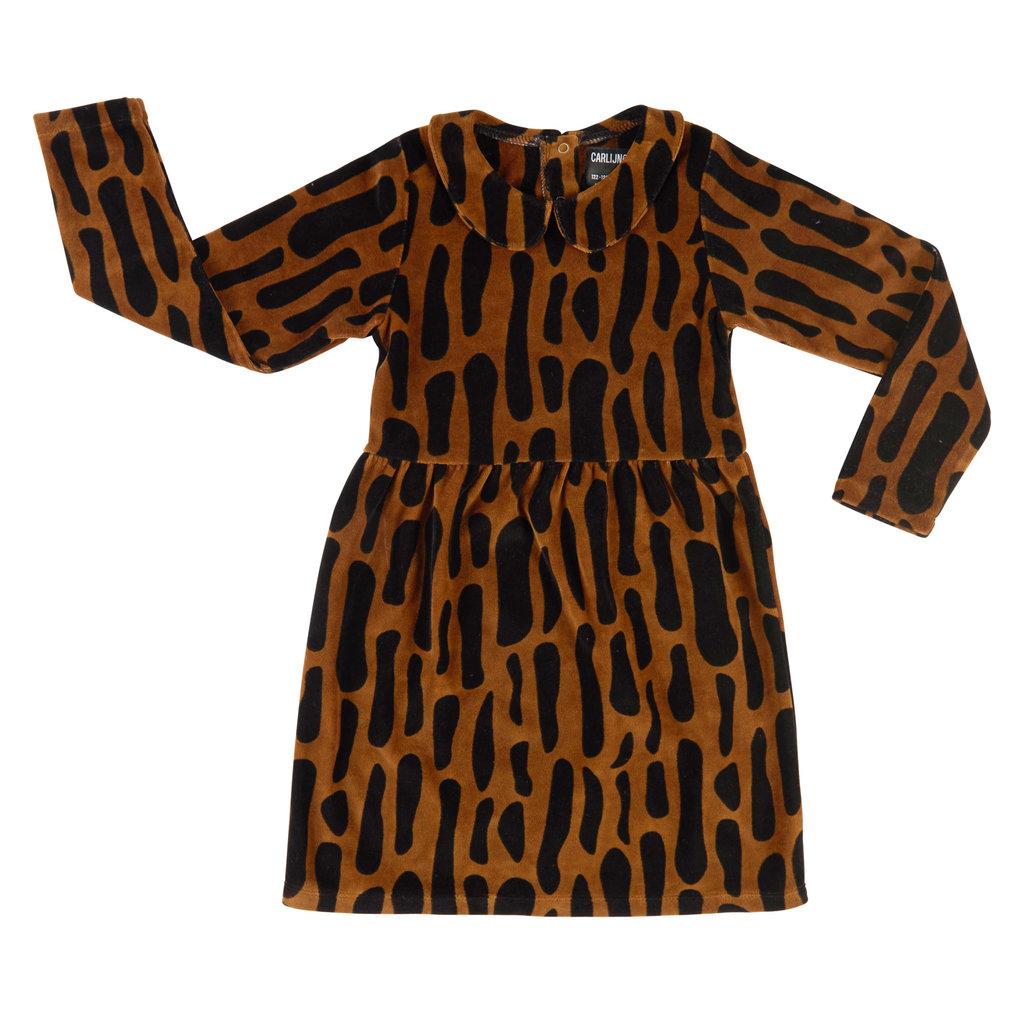 CarlijnQ CarlijnQ, jurk, bark, velvet zwart/bruin