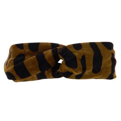 CarlijnQ CarlijnQ, haarband gedraaid, bark, velvet zwart/bruin