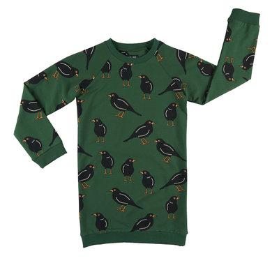 CarlijnQ CarlijnQ, jurk, zwarte vogels, groen
