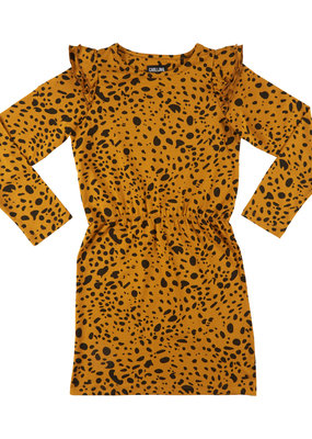CarlijnQ CarlijnQ, jurk, spotted animal, geel/zwart