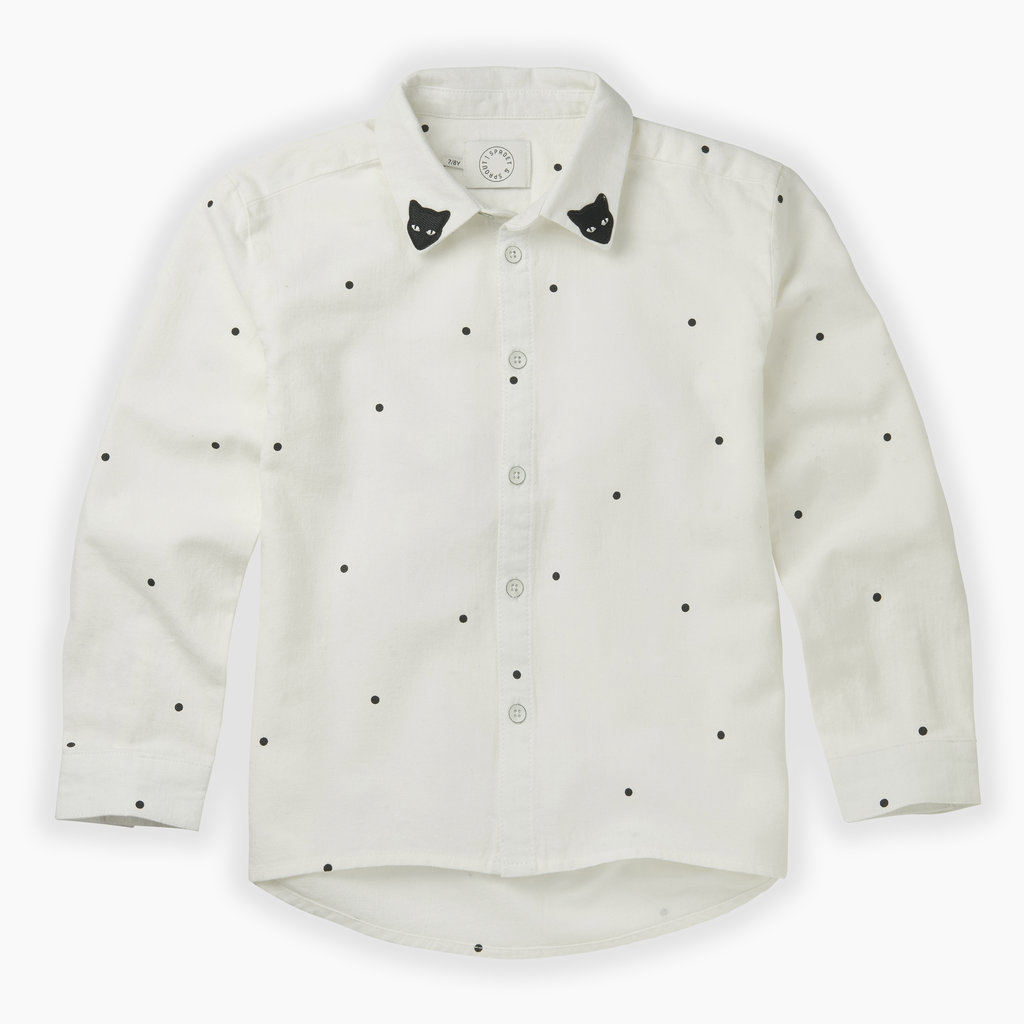 Sproet & Sprout Sproet & Sprout, blouse, met stippen, wit/zwart, W19-889