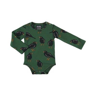 CarlijnQ CarlijnQ, zwarte vogel, romper, groen