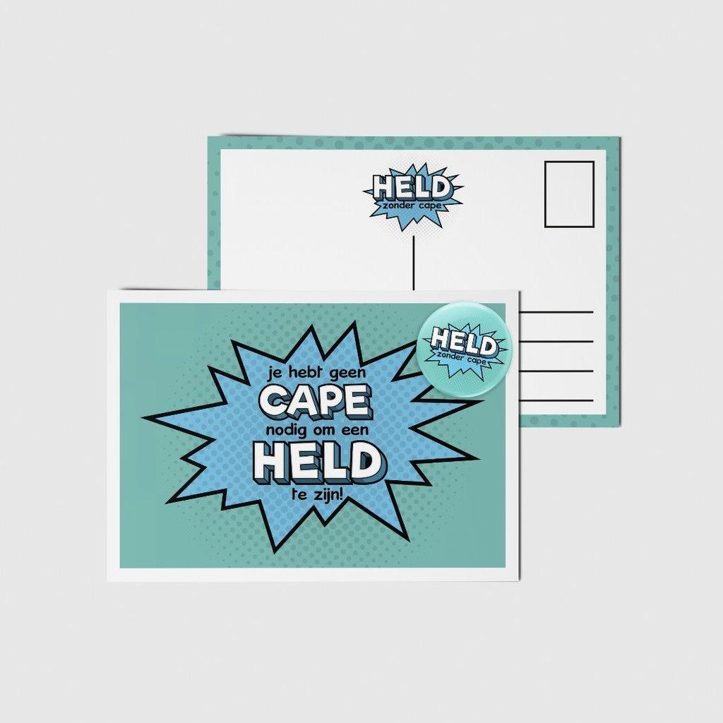 Held zonder cape! Buy one, give one! Held zonder cape kaart met button!