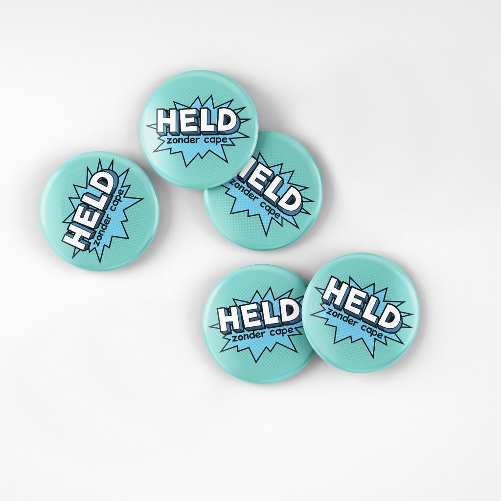 Held zonder cape! Buy one, give one; Held zonder cape! Buttons (10stuks)