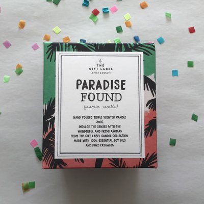 The gift label The gift label;  candle tin large, Paradise found jasmin vanilla