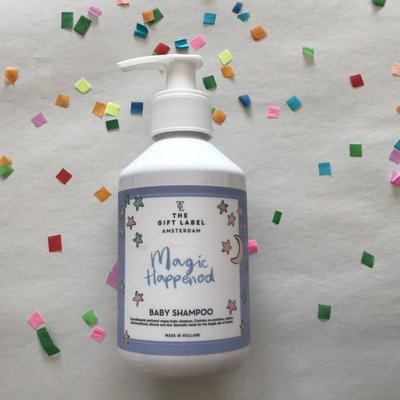 The gift label The gift label;  baby shampoo Magic happened