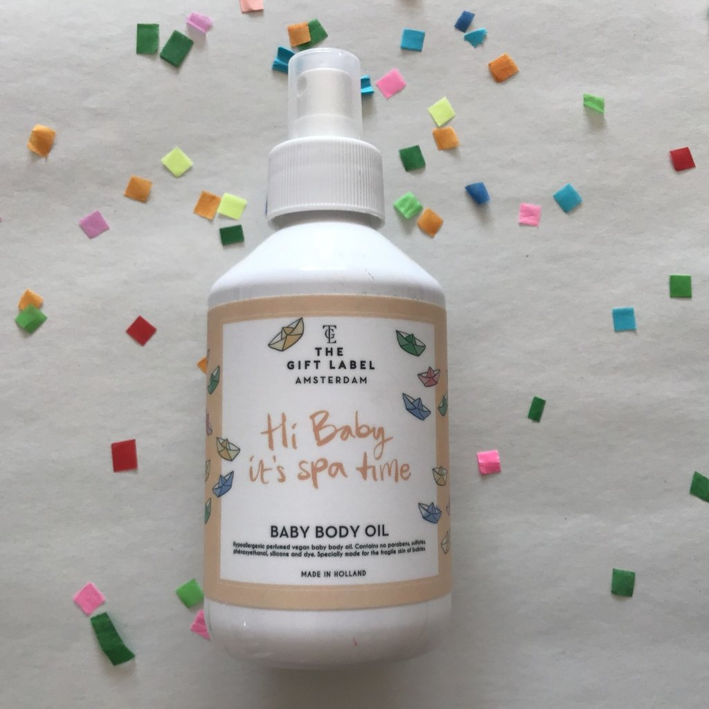 The gift label The gift label;  baby body oil Hi baby it's Spa time